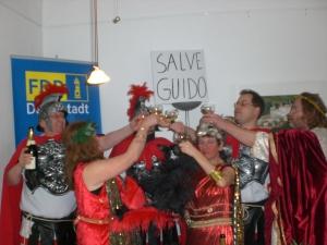 GALIDA Aktion Dekadente Römer bei FDP Darmstadt