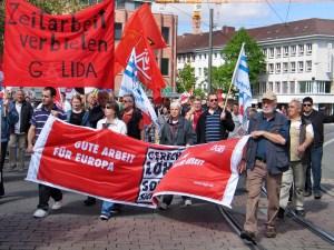 """GALIDA-Transparent """"Zeitarbeit verbieten!"""" auf dem 1. Mai 2012 in Darmstadt"""